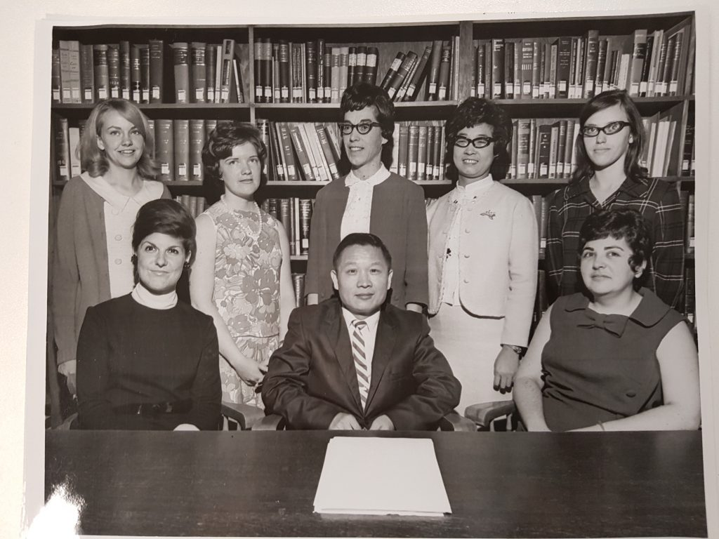 Library Staff 1969-1970: Sitting (left to right): Carol Sharp, Mr. s. Hu, Reta Craven; Standing (left to right): Jennifer Bradford, Linda Toxopeus, Margaret Hay, Joy Chen, Bonnie Gee ; Missing: Judy Head
