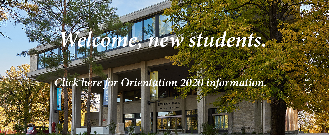 Hyperlinked image of Robson Hall leads to Orientation 2020 page
