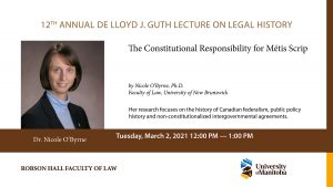 NEW DATE: DeLloyd J. Guth Lecture on Legal History: Dr. Nicole O'Byrne @ Online