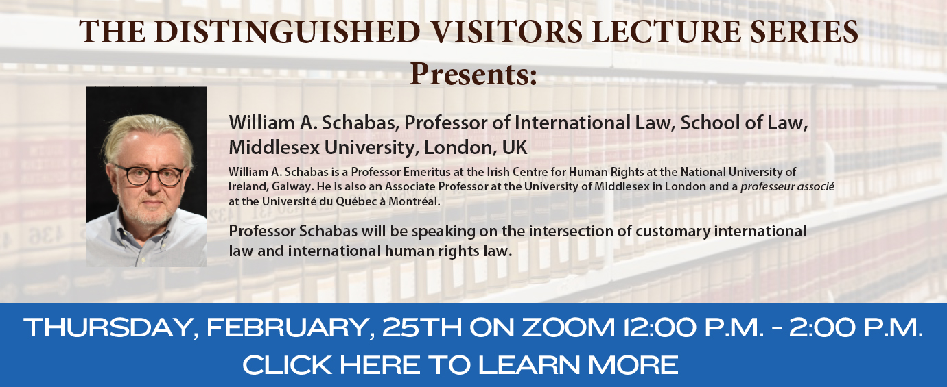 Distinguished Visitor Lecture Presents William A. Schabas