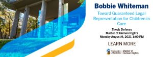 Master of Human Rights, Thesis Defence: Bobbie Whiteman